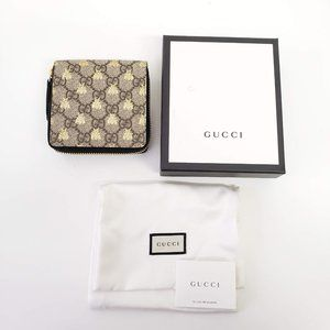 Gucci Signature Canvas Bee Card Wallet - Beige
